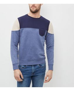 Threadbare Navy Contrast Patchwork Crew Neck Sweater  | New Look