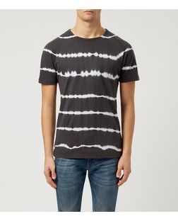 Another Influence Black Tie Dye Stripe T-Shirt  | New Look