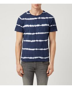 Another Influence Navy Tie Dye Stripe T-Shirt | New Look