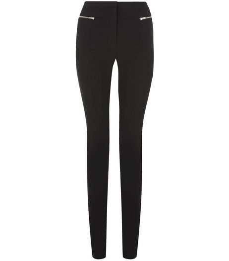 Tall 38in Black Double Zip Slim Leg Bengaline Trousers  | New Look