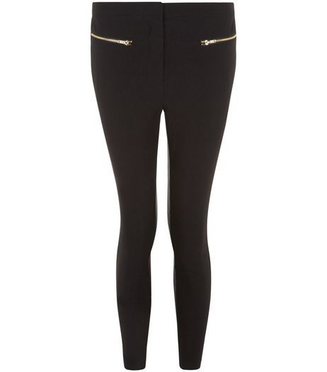 Petite 26in Black Slim Leg Double Zip Front Trousers  | New Look