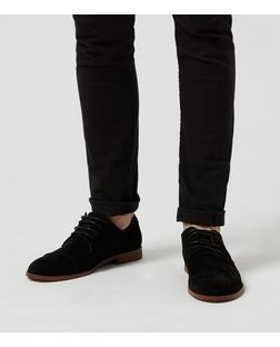 Black Suedette Toe Cap Lace Up Shoes  | New Look