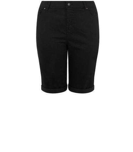 Curves Black Knee Length Boyfriend Shorts | New Look