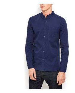 Navy Long Sleeve Oxford Shirt  | New Look