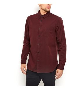Burgundy Long Sleeve Oxford Shirt  | New Look