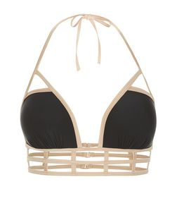 Black Contrast Trim Caged Bikini Top  | New Look