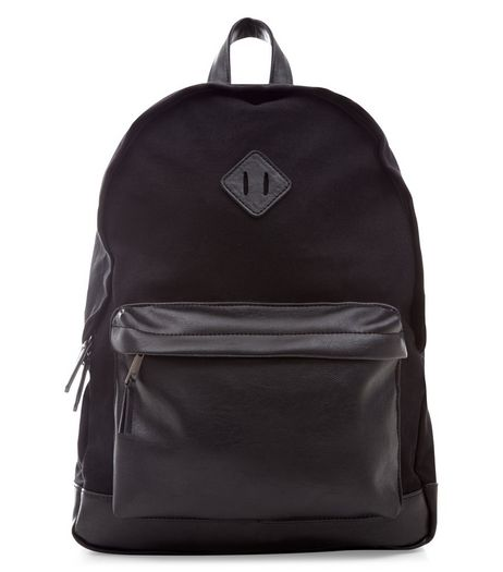 Black Leather-Look Pocket Backpack  | New Look