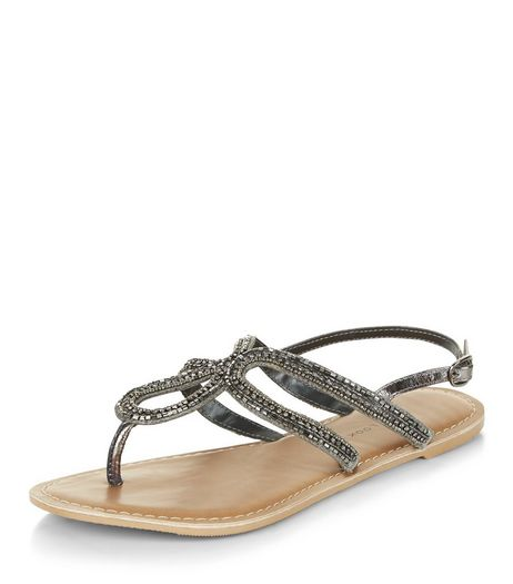 Wide Fit Bronze Leather Diamante Trim Sandals  | New Look