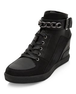 Teens Black Chain Trim Lace Up Hi-Top Wedged Plimsolls  | New Look