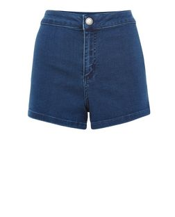Petite Pale Blue Denim High Waisted Shorts  | New Look