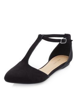 Black Suedette T-Bar Strap Pointed Pumps  | New Look