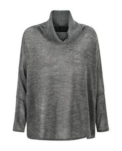Grey Fine Knit Stripe Cowl Neck Batwing Jumper | New Look