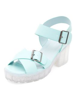 Mint Green Jelly Block Heel Sandals  | New Look