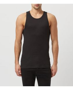 Black Ribbed Vest  | New Look