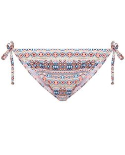 Pink Foil Global Print Tie Side Bikini Bottoms  | New Look