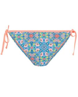 Blue Ditsy Floral Tie Side Bikini Bottoms | New Look
