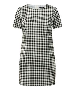 Black Gingham Check T-Shirt Dress  | New Look