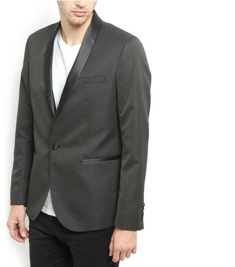 Black Jacquard Textured Tux Blazer  | New Look