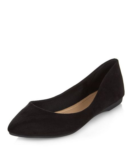 Black Suedette Soft Pointed Pumps  | New Look