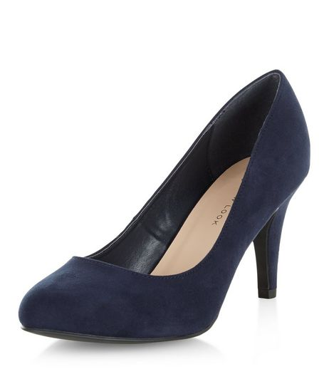 Wide Fit Navy Mid Heels  | New Look