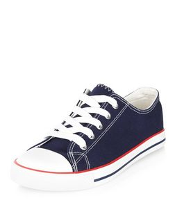 Navy Lace Up Stripe Sole Plimsolls | New Look