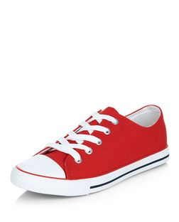 Red Lace Up Striped Sole Plimsolls  | New Look