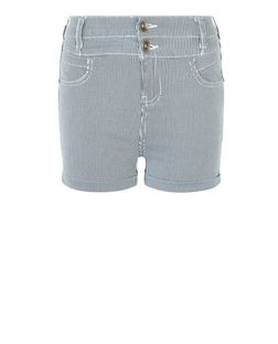Teens White Stripe Denim Shorts  | New Look