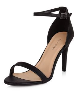 Black Ankle Strap Heels  | New Look