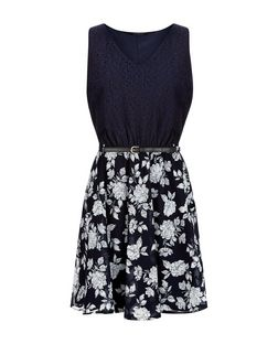 Navy Lace Contrast Folk Flower Print Belted Dress  | New Look