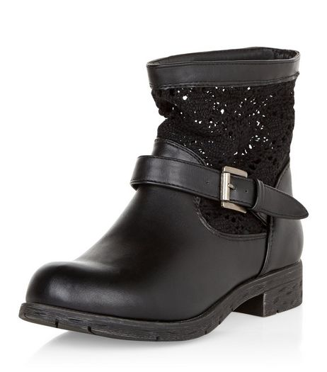 Teens Black Crochet Panel Ankle Boots  | New Look