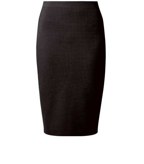 Black Ribbed Pencil Skirt | New Look