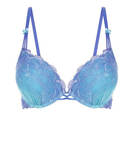 Blue Dip Dye Lace Push Up Bra | New Look