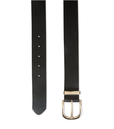 Black Premium Leather Jeans Belt  | New Look