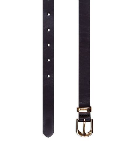 Black Premium Leather Skinny Belt  | New Look