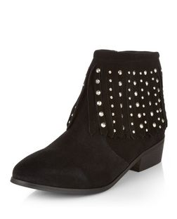 Black Suede Stud Fringed Trim Boots  | New Look