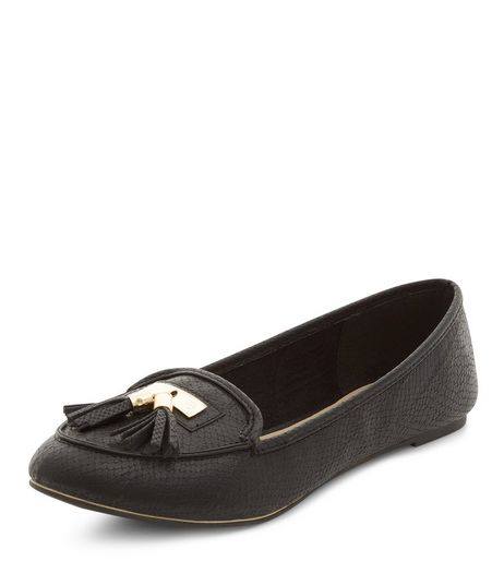 Black Tassel Front Loafers  | New Look