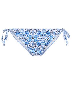 Blue Tile Print Tie Side Bikini Bottoms | New Look
