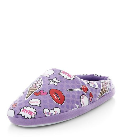 Teens Lilac Pop Art Slippers  | New Look