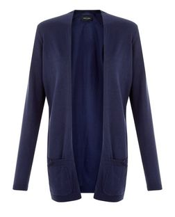 Navy Pocket Cardigan  | New Look