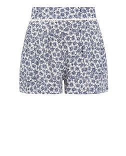 Blue Floral Crochet Trim Shorts  | New Look