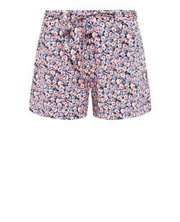 Black Ditsy Floral Print Tie Waist Shorts  | New Look