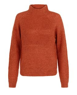 Red Fisherman Knit High Neck Jumper | New Look