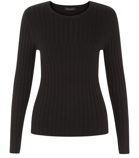 Black Long Sleeve Wide Ribbed Top  | New Look