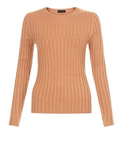 Rust Long Sleeve Wide Ribbed Top | New Look