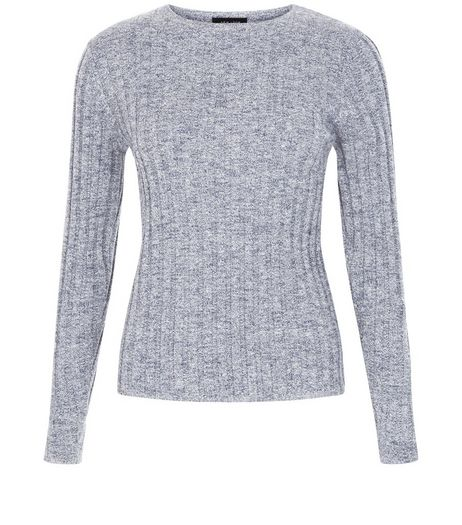 Blue Long Sleeve Wide Ribbed Top | New Look