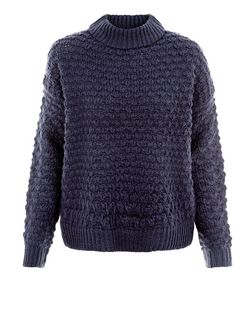 Navy Textured Stitch Roll Neck Boxy Jumper | New Look