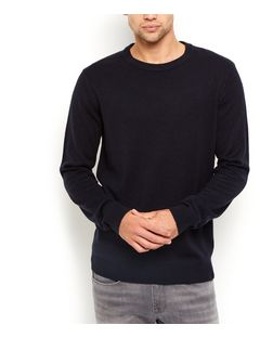 Navy Basic Crew Neck Jumper  | New Look