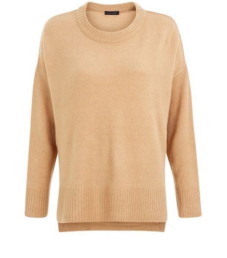 Camel Split Side Boxy Sweater | New Look