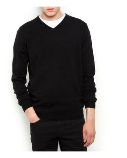 Black V Neck Jumper  | New Look