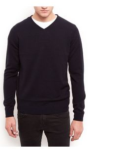 Navy V Neck Jumper | New Look